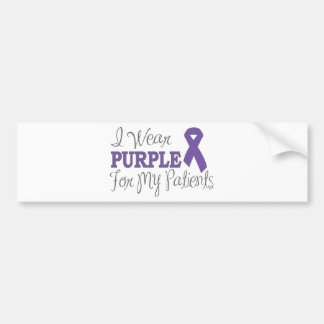 I Wear Purple For My Patients (Purple Ribbon) Bumper Sticker