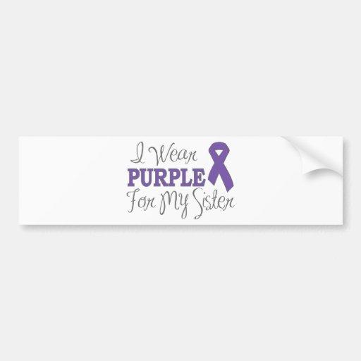 I Wear Purple For My Sister (Purple Ribbon) Bumper Stickers