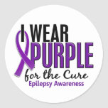 I Wear Purple For The Cure 10 Epilepsy Round Sticker