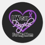 I Wear Purple Heart Ribbon - Mom Stickers