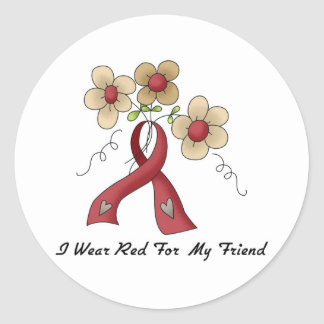 I Wear Red For A Friend Classic Round Sticker