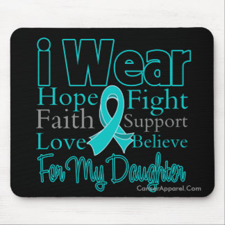 I Wear Ribbon Collage Daughter - Ovarian Cancer Mouse Pad