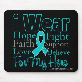 I Wear Ribbon Collage HERO - Ovarian Cancer Mouse Pad