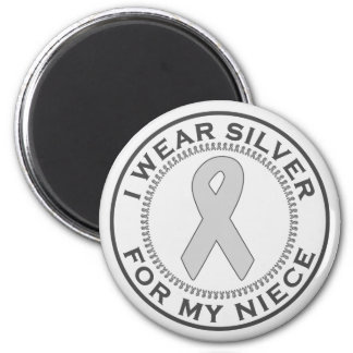 I Wear Silver For My Niece 2 Inch Round Magnet
