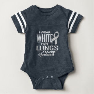 I Wear White For Lungs Cancer Awareness Baby Bodysuit