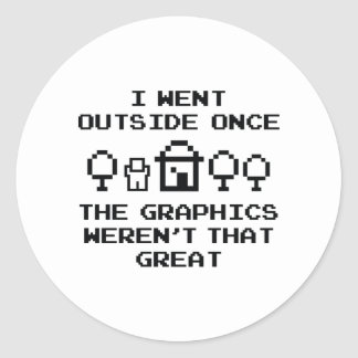 I Went Outside Once Classic Round Sticker