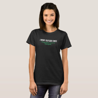 I Went Outside Once Logo Humour Funny T-Shirt