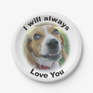 I Will Always Love You Beagle Paper Plate