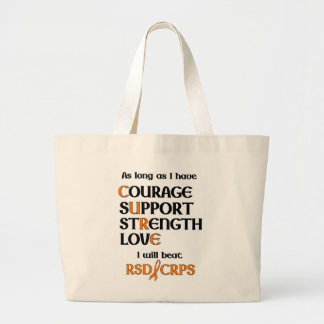 I will beat RSD/CRPS Large Tote Bag