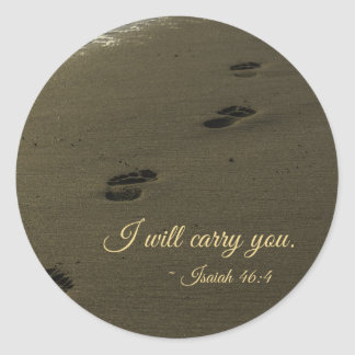 I Will Carry You Sand Footprints Classic Round Sticker