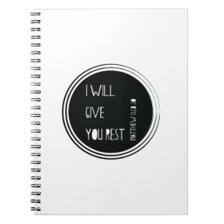 I will give you rest Christian Verse Note Book
