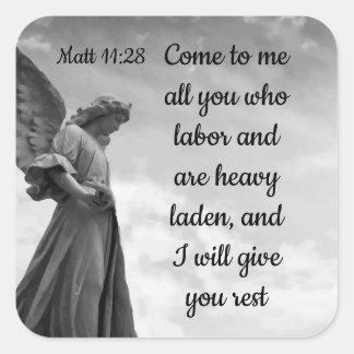 I will Give You Rest Scripture Matt 11:28 Square Sticker