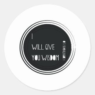 I will give you wisdom Christian Verse Round Sticker