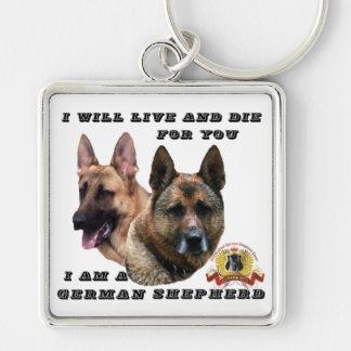 I Will Live and Die German Shepherd Keychain