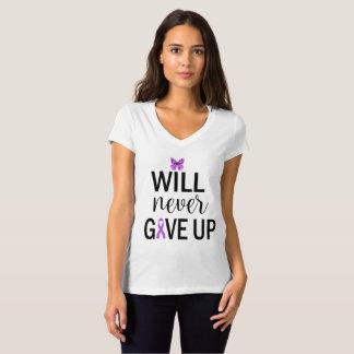 I Will Never Give Up V-Neck Fibro T Shirt