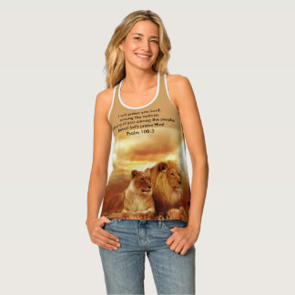 I will praise you Lord, Psalm 108:3 Lions Looking Tank Top