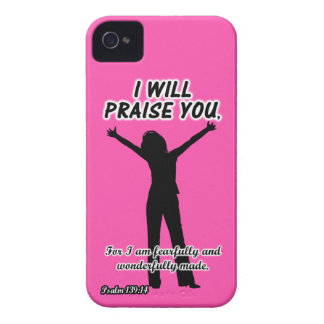 I Will Praise You - Psalm 139:14 Pink Silhouette iPhone 4 Case