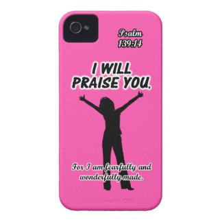 I Will Praise You - Psalm 139:14 Pink Silhouette iPhone 4 Case-Mate Cases