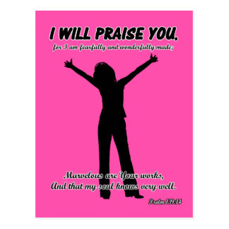 I Will Praise You - Psalm 139:14 Pink Silhouette Postcard