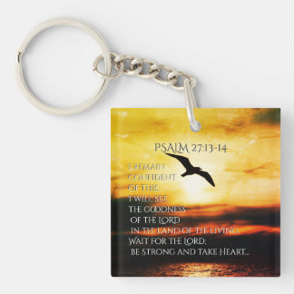 I will see the goodness of the Lord Psalm 27:13-14 Double-Sided Square Acrylic Keychain