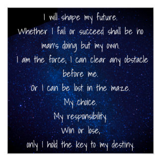 I Will Shape My Future Poster Perfect Poster