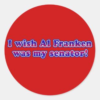 I Wish Al Franken Was My Senator Round Sticker