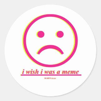 """""""I Wish I Was A Meme"""" Classic Round Sticker, Matte Classic Round Sticker"""
