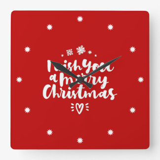 I Wish You A Merry Christmas Red And White Square Wall Clock