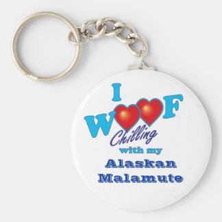 I Woof Alaskan Malamute Basic Round Button Keychain