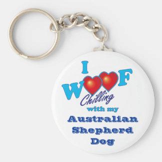 I Woof  Australian Shepherd Keychain