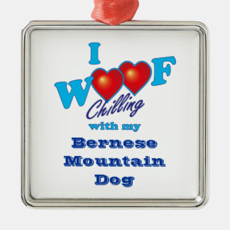 I Woof Bernese Mountain Dog Silver-Colored Square Ornament