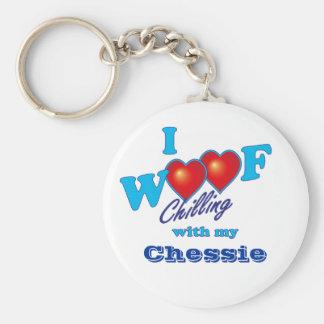 I Woof Chessie Basic Round Button Keychain