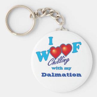 I Woof Dalmation Basic Round Button Keychain