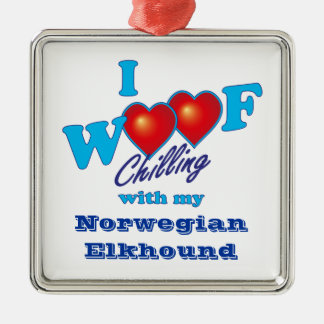 I Woof Norwegian Elkhound Silver-Colored Square Ornament