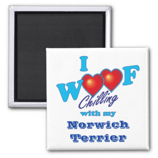 I Woof Norwich Terrier Square Magnet