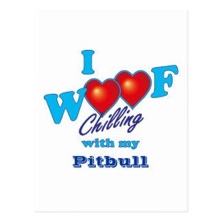 I Woof Pitbull Postcard