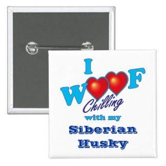 I Woof Siberian Husky Button