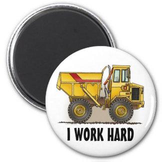 I Work Hard Big Dump Truck Round Magnet