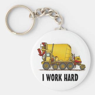 I Work Hard Cement Mixer Truck Key Chain