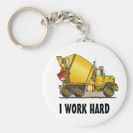 I Work Hard Concrete Truck Key Chain