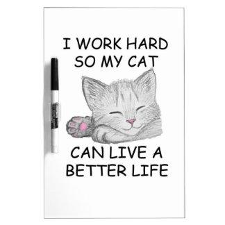 I Work Hard Dry Erase White Board