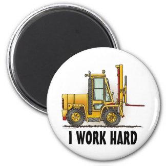 I Work Hard Forklift Truck Round Magnet
