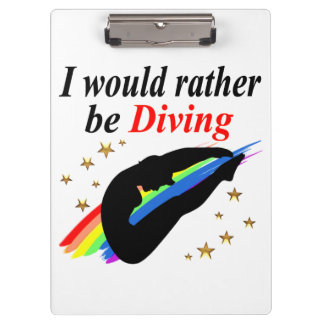 I WOULD RATHER BE DIVING DIVER GIRL DESIGN CLIPBOARDS