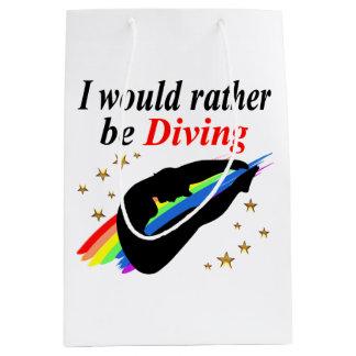 I WOULD RATHER BE DIVING DIVER GIRL DESIGN MEDIUM GIFT BAG