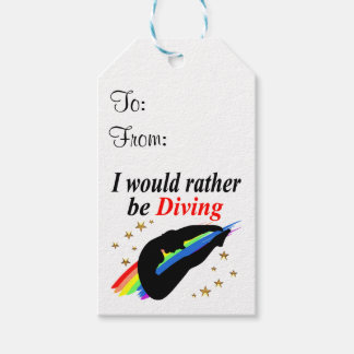 I WOULD RATHER BE DIVING DIVER GIRL DESIGN PACK OF GIFT TAGS