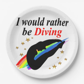 I WOULD RATHER BE DIVING DIVER GIRL DESIGN PAPER PLATE
