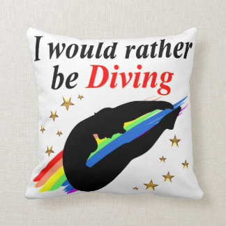 I WOULD RATHER BE DIVING DIVER GIRL DESIGN THROW PILLOW