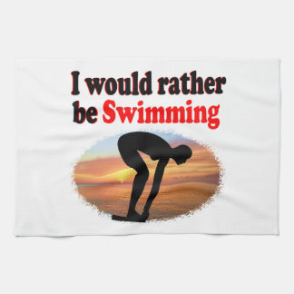 I WOULD RATHER BE SWIMMING KITCHEN TOWELS