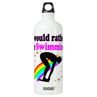I WOULD RATHER BE SWIMMING PINK RAINBOW DESIGN