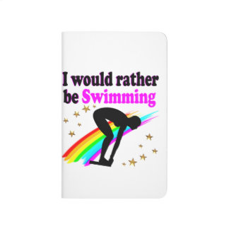 I WOULD RATHER BE SWIMMING PINK RAINBOW DESIGN JOURNALS